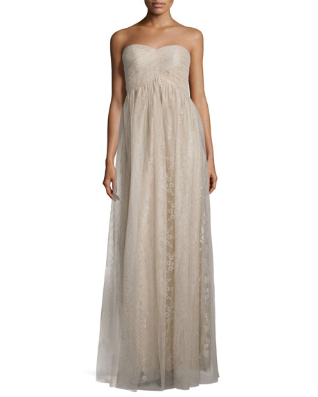 Donna Morgan Rose Strapless Sweetheart Tulle Gown