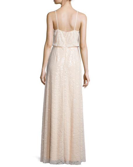 Olivia Spaghetti Strap Sequined Gown