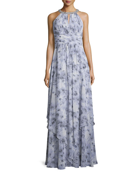 Donna Morgan Siena Beaded Halter Chiffon Gown