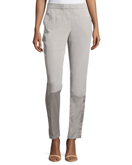 Halston Heritage Slim-Leg Pull-On Pants, Stone