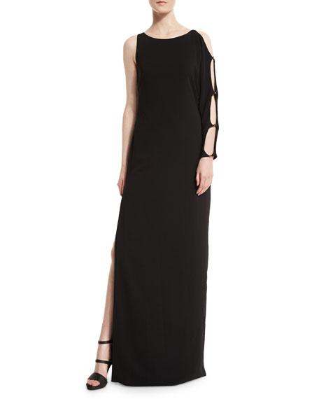 Halston Heritage One-Sleeve Column Gown, Black