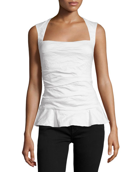 Nicole Miller Sleeveless Square-Neck Peplum Top, White
