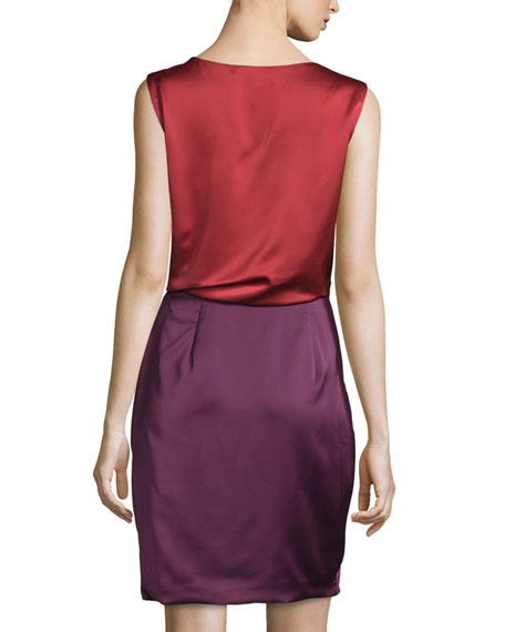 Sleeveless Colorblock Cocktail Dress, Dark Brick/Bordeaux