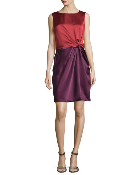 Halston Heritage Sleeveless Colorblock Cocktail Dress, Dark Brick/Bordeaux