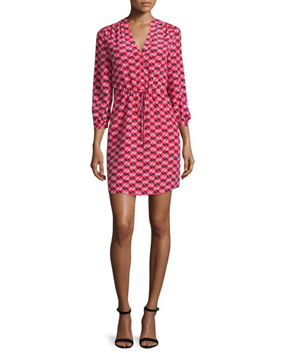 3/4-sleeve geometric-print shirtdress, geranium