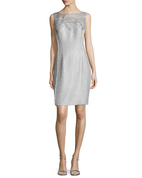 Kay Unger New York Sleeveless Lace-Bodice Metallic Sheath