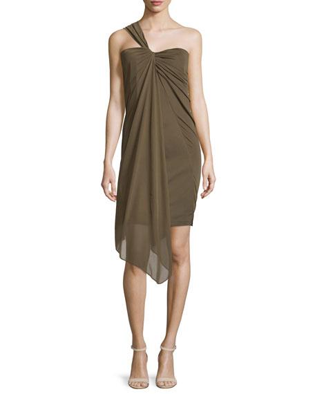 Halston Heritage One-Shoulder Draped Cocktail Dress, Fatigue