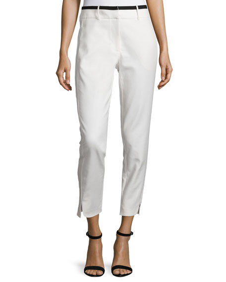 Halston Heritage Slim-Fit Cropped Pants, Linen White