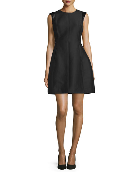 Halston Heritage Sleeveless Structured Party Dress, Black