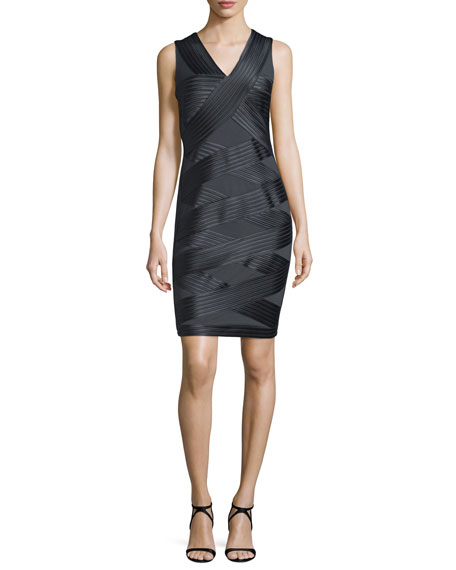 Halston Heritage Sleeveless Crisscross Ponte Dress, Charcoal
