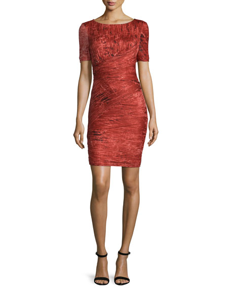 Halston Heritage Short-Sleeve Bandage Dress, Pomegranate