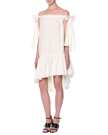 MSGM Poplin Off-the-Shoulder Shift Dress, White