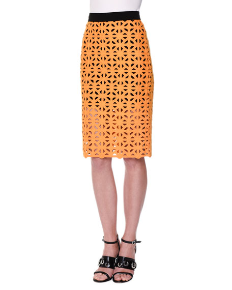 MSGM Geometric Macrame Pencil Skirt, Yellow