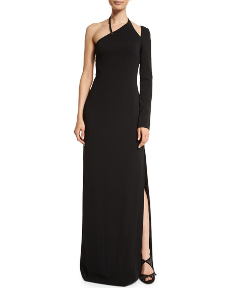 Halston Heritage Asymmetric-Neck One-Sleeve Gown, Black
