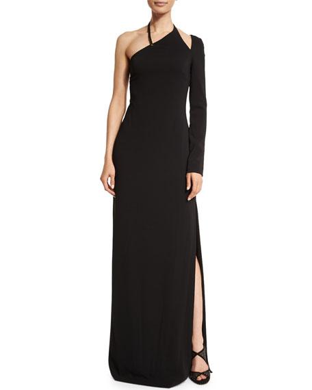 Halston Heritage Asymmetric-Neck One-Sleeve Gown, Black