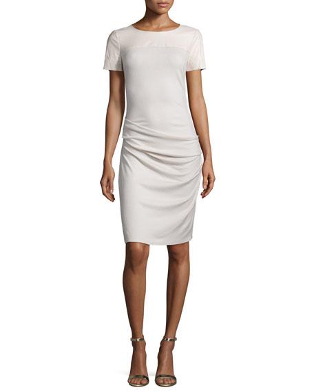 Halston Heritage Short-Sleeve Ruched Sheath Dress, Windchime