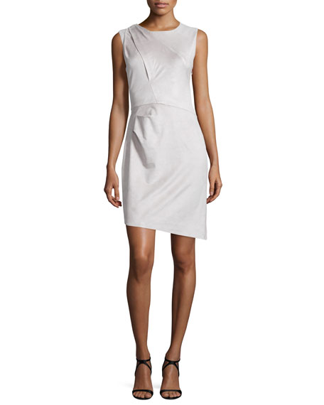 Halston Heritage Sleeveless Pleated-Shoulder Sheath Dress, Stone Gray