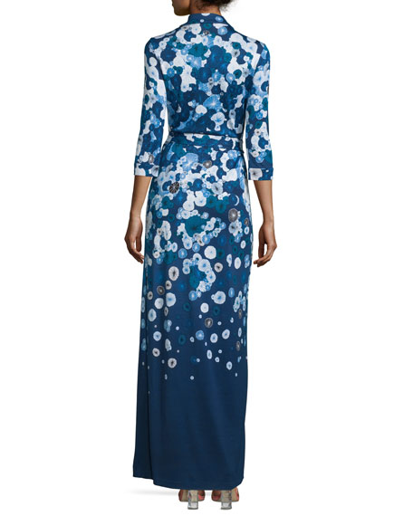 Abigail Floating Flowers Silk Maxi Wrap Dress
