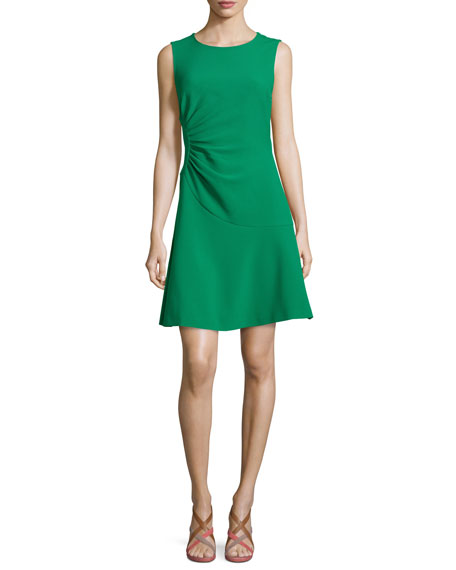 Dayna Crepe A-Line Dress, Emerald Sea