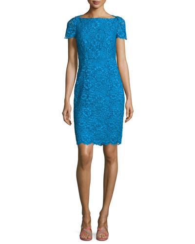 Ainsley Cap-Sleeve Lace Sheath Dress, Atlantis Blue