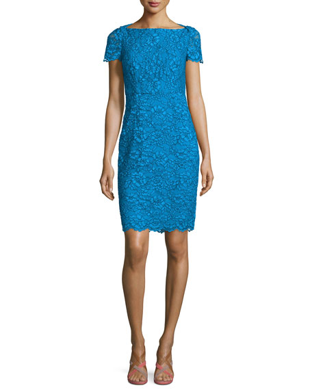 Diane von Furstenberg Ainsley Cap-Sleeve Lace Sheath Dress, Atlantis Blue