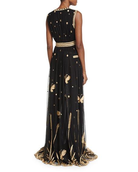 Vivanette Sleeveless Tulle Gown, Black/Gold