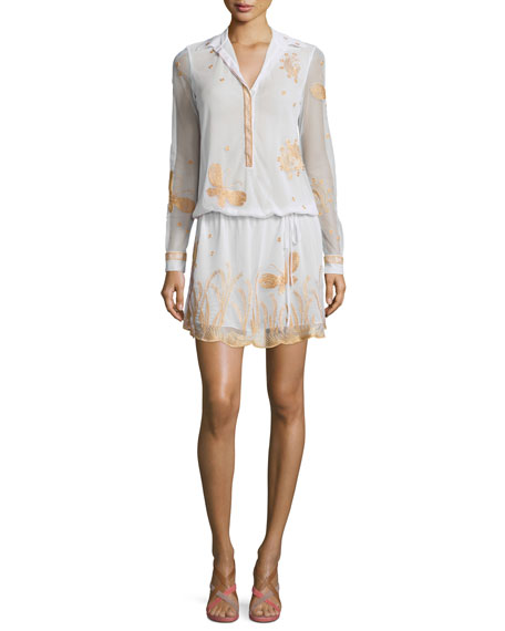 Diane von Furstenberg Delphina Embroidered Drawstring Dress, Ivory/Gold