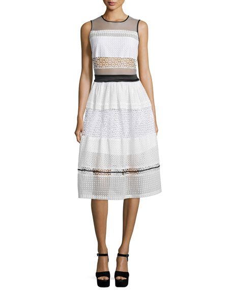 Kendall + Kylie Sleeveless Pierced Mixed-Lace Dress, White