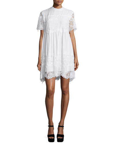 Kendall + Kylie Short-Sleeve Lace Babydoll Dress, White