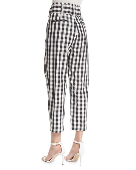 High-Waist Belted Cropped Trousers, Gingham