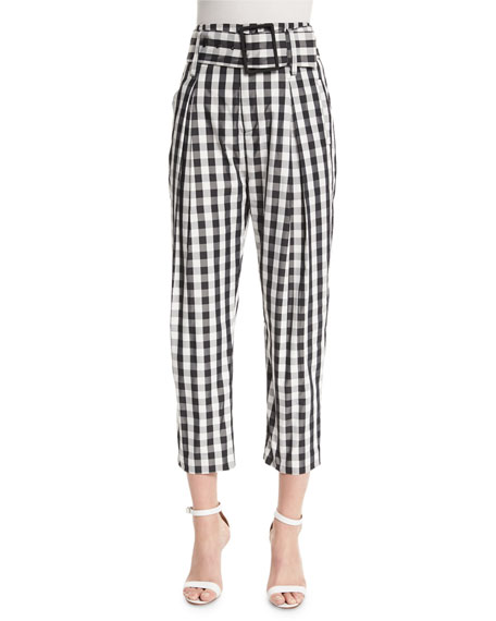 Kendall + Kylie High-Waist Belted Cropped Trousers, Gingham
