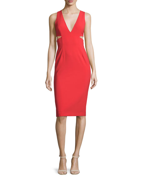 Alice + Olivia Riki Cutout Ponte Sheath Dress, Light Red