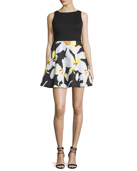 Alice + Olivia Kourtney Sleeveless Box-Pleated Combo Dress, Black/Multicolor