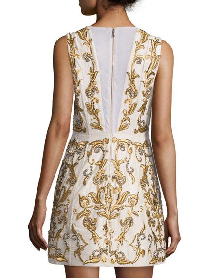 Prescilla Embellished Mini Dress, Gold