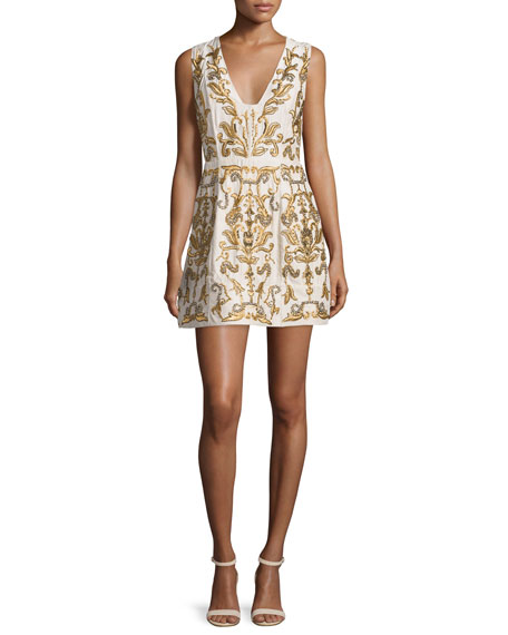 Alice + Olivia Prescilla Embellished Mini Dress, Gold