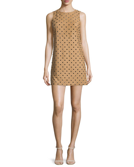 Alice + Olivia Clyde Studded Leather Shift Dress,