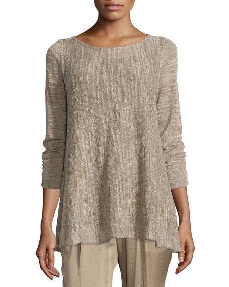 Lafayette 148 New York Layered Sweater W/ Georgette