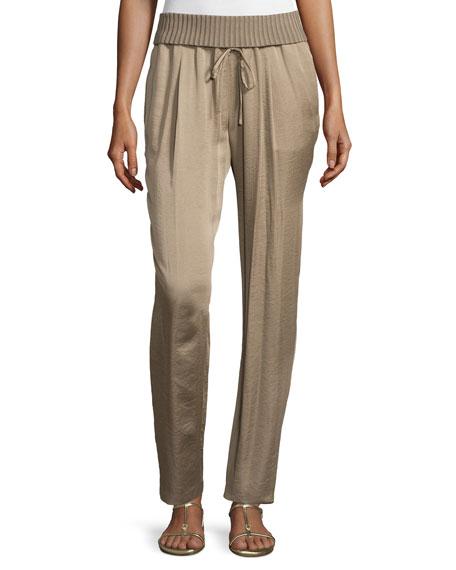 Lafayette 148 New York Barclay Ribbed-Waist Pants