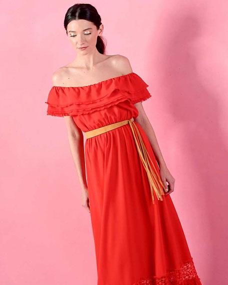 Cheri Lace-Trim Maxi Dress, Light Red