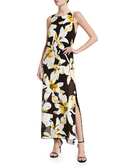 Alice + Olivia Lucia Floral Maxi Dress, Black/Multicolor