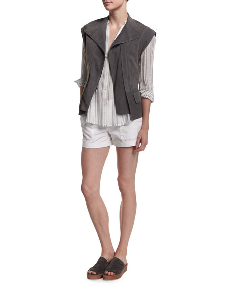Vince Cap-Sleeve Nubuck Leather Vest, Striped Split-Neck