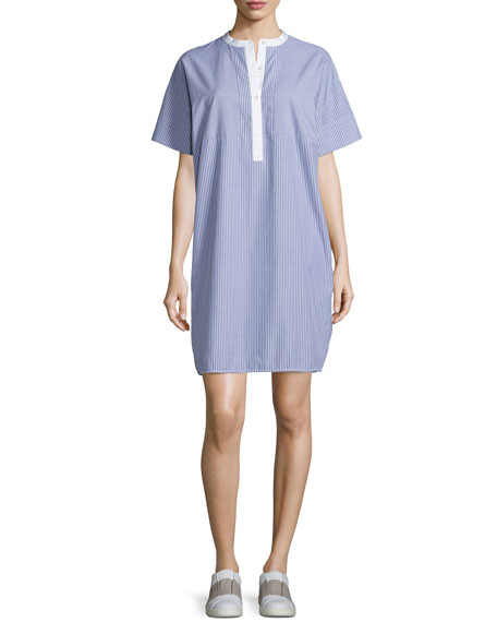 Striped Cotton Poplin Shirtdress, Blue/White