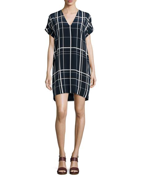 Vince Lattice-Print Popover Dress