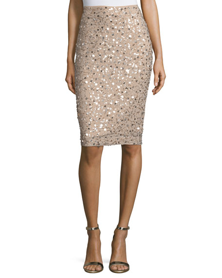Mid-Rise Embellished Pencil Skirt, Gold