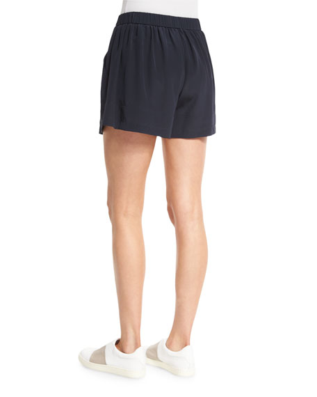 Pleated Silk Pull-On Shorts