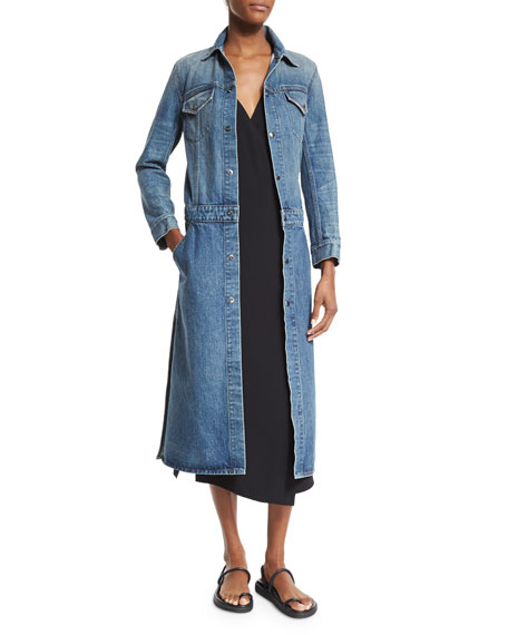 Faded Denim Button-Front Trenchcoat, Medium Blue