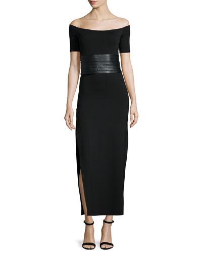 Off-The-Shoulder Maxi Dress, Black