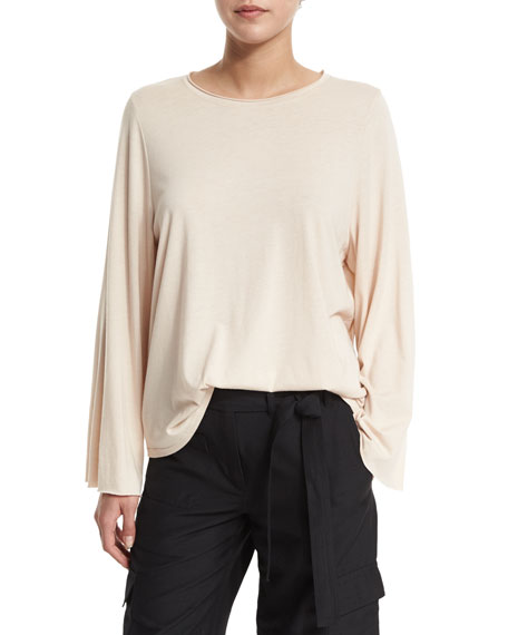 Long-Sleeve Flared Jersey-Knit Top, Nude