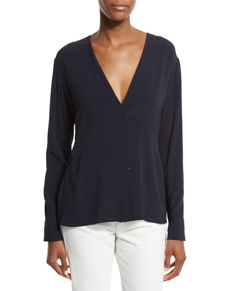 Helmut Lang Long-Sleeve Woven Surplice Top, Navy