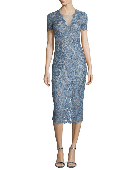 Jenny Packham Short-Sleeve Lace Midi Cocktail Dress, Denim